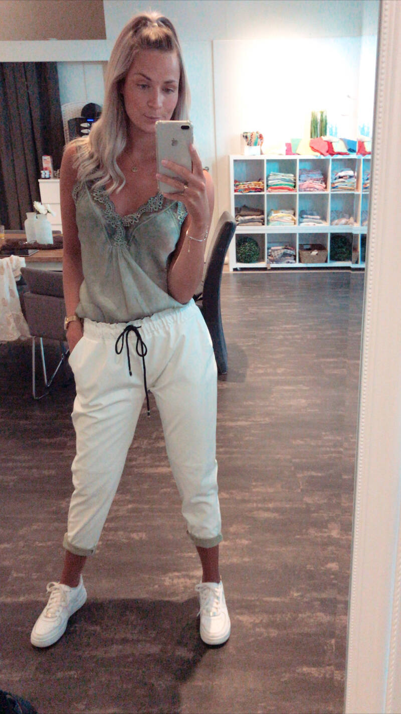 White leather look jeans