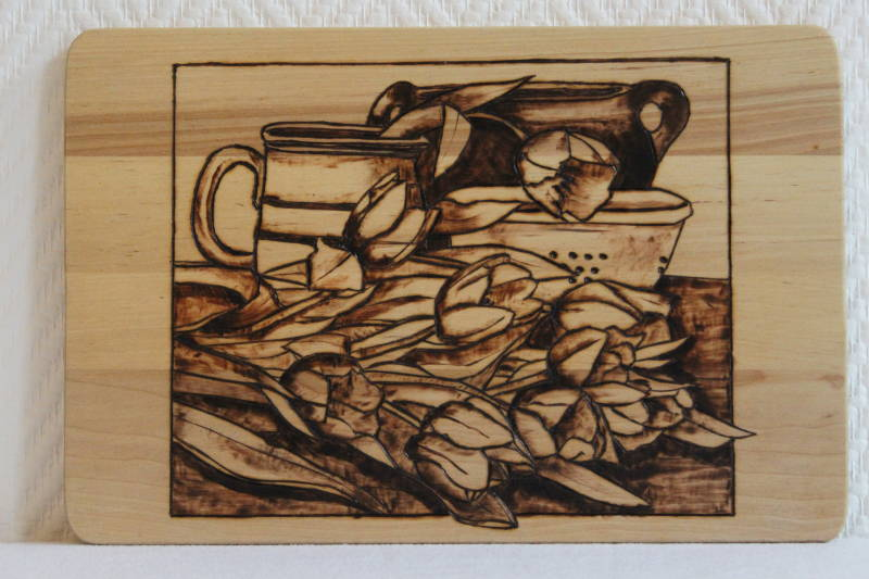 Houtgebrande sijplank / wandecoratie - Woodburned cuttingboard /wall decoration