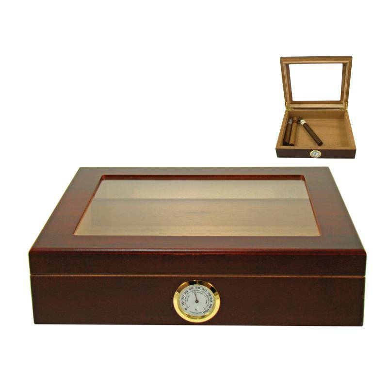 ANGELO HUMIDOR BROWN GLASS TOP