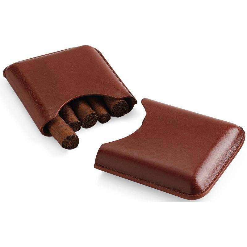 EGOIST 4 PCS BROWN POCKET CIGAR CASE STRAIGHT