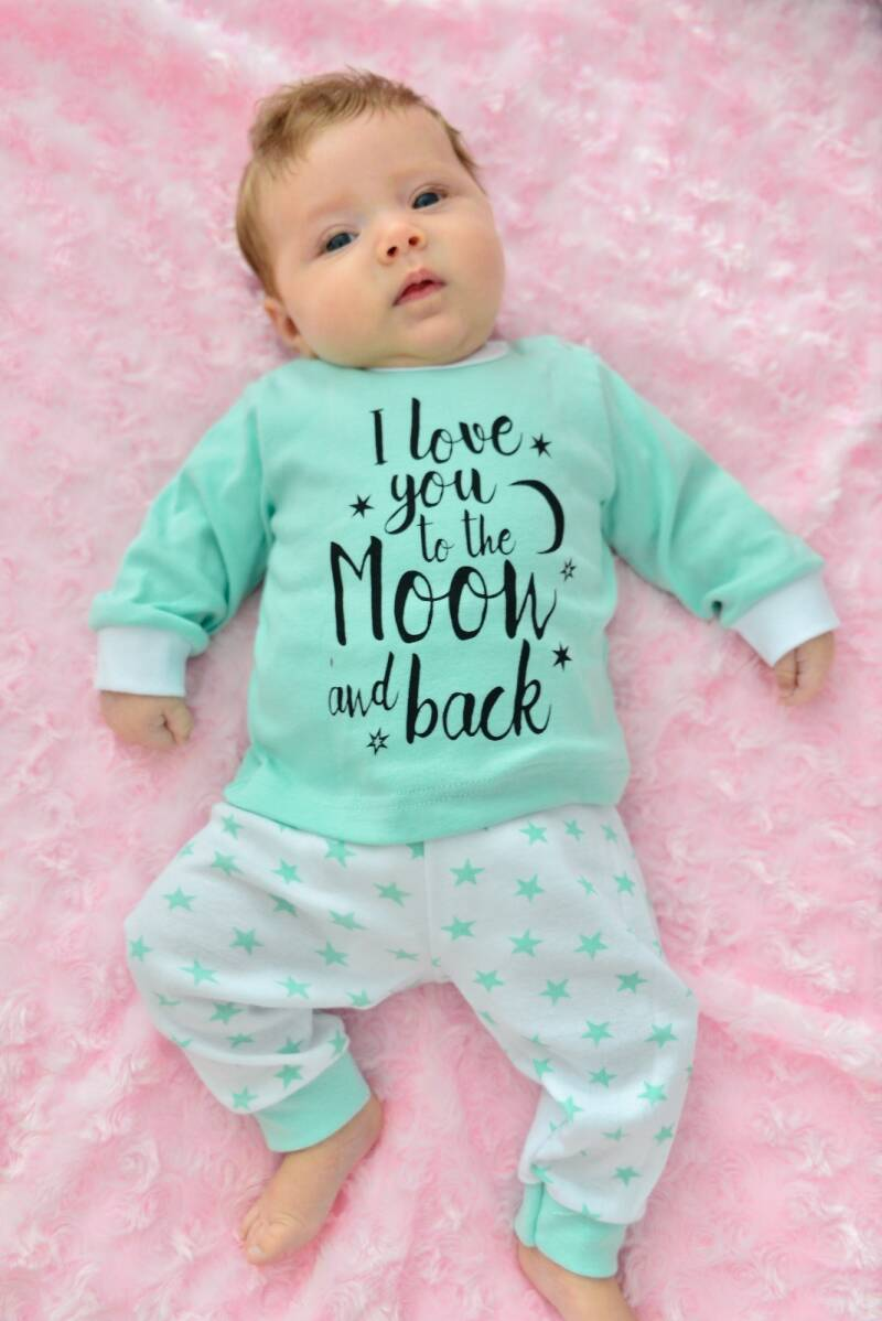 Pyjama mint groen  Love you to the moon and back