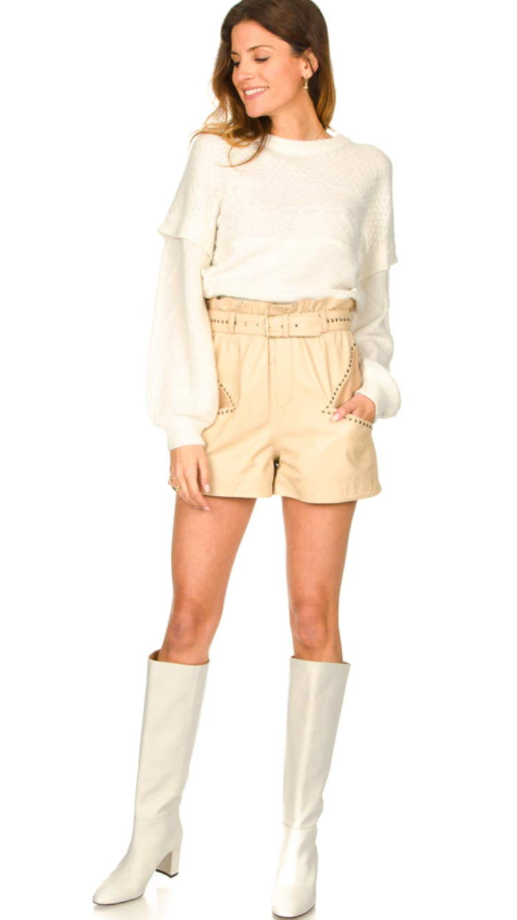 Ibana Leather Shorts Sachi Latte