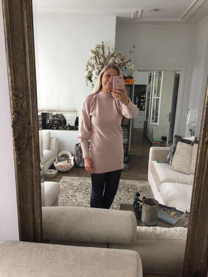 Knitted Dress Cable Pale Pink
