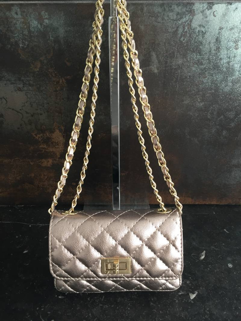 Quilted Leather Clutch Gold