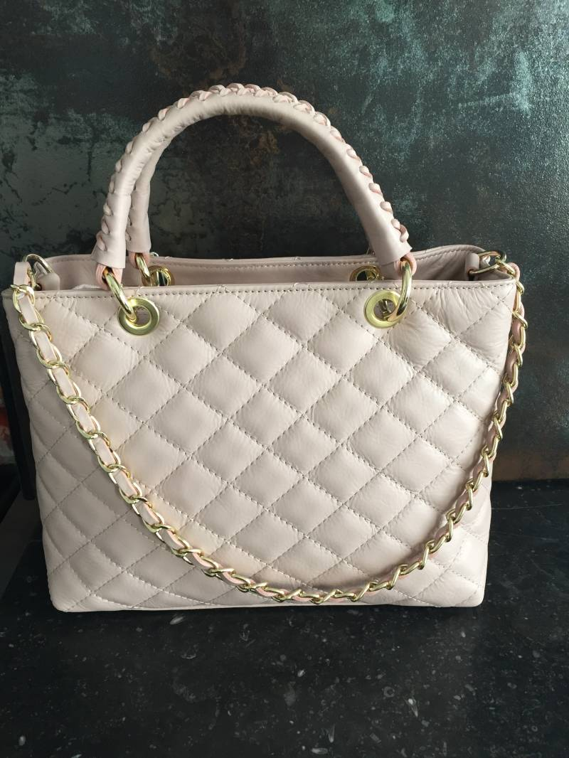 Quilted Leather Bag Nude