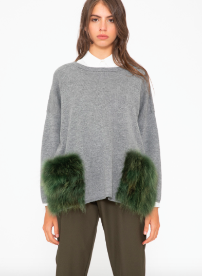 Fake fur pocket sweater