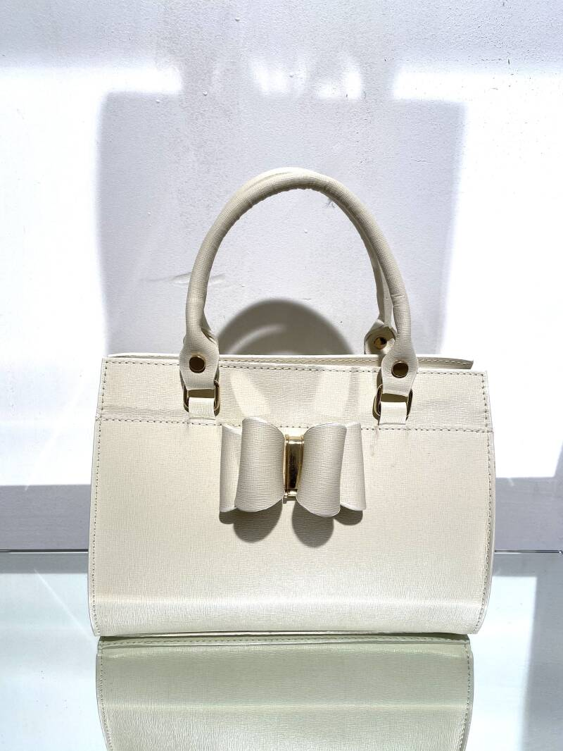 LOLA! LEATHER OFFWHITE BAG MIDI