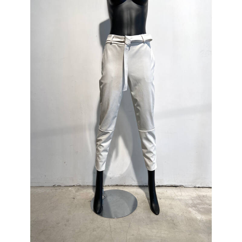 LOLA WHITE FAUX LEATHER PANTS BELT