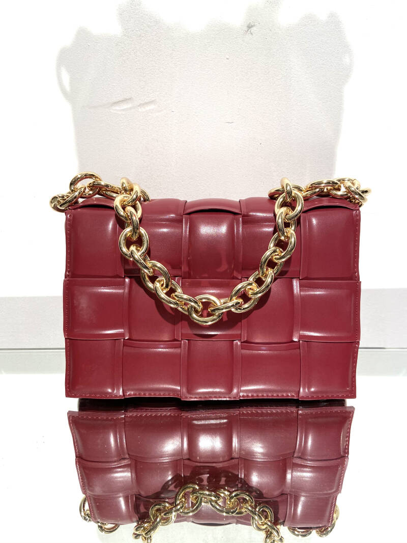 LOLA! FAUX LEATHER BAG CHERRY