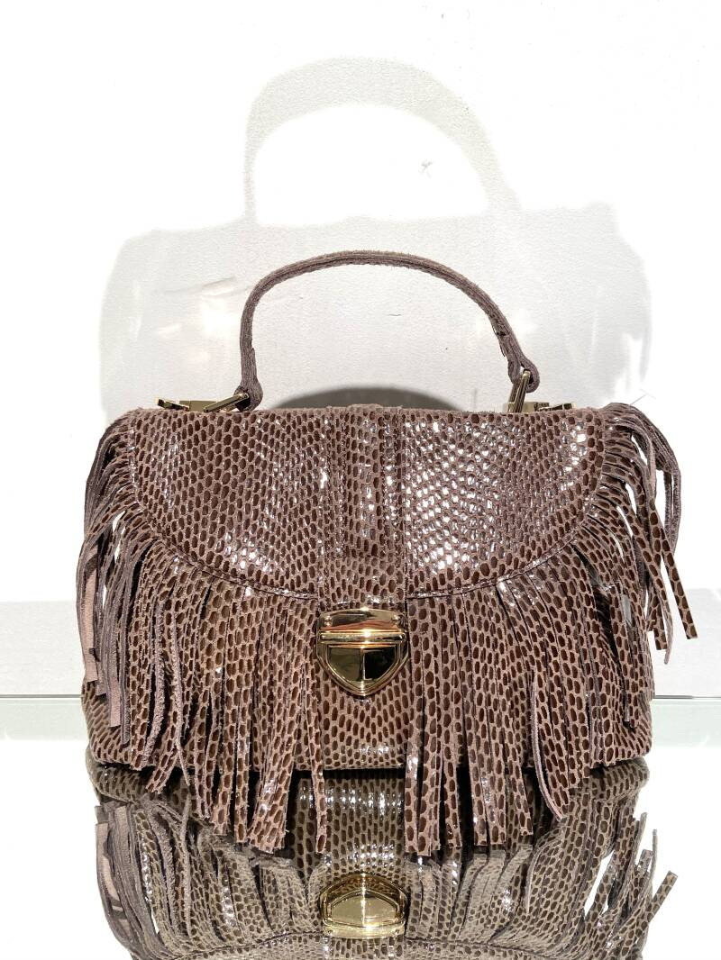 LOLA! LEATHER FRINGE BROWN BAG