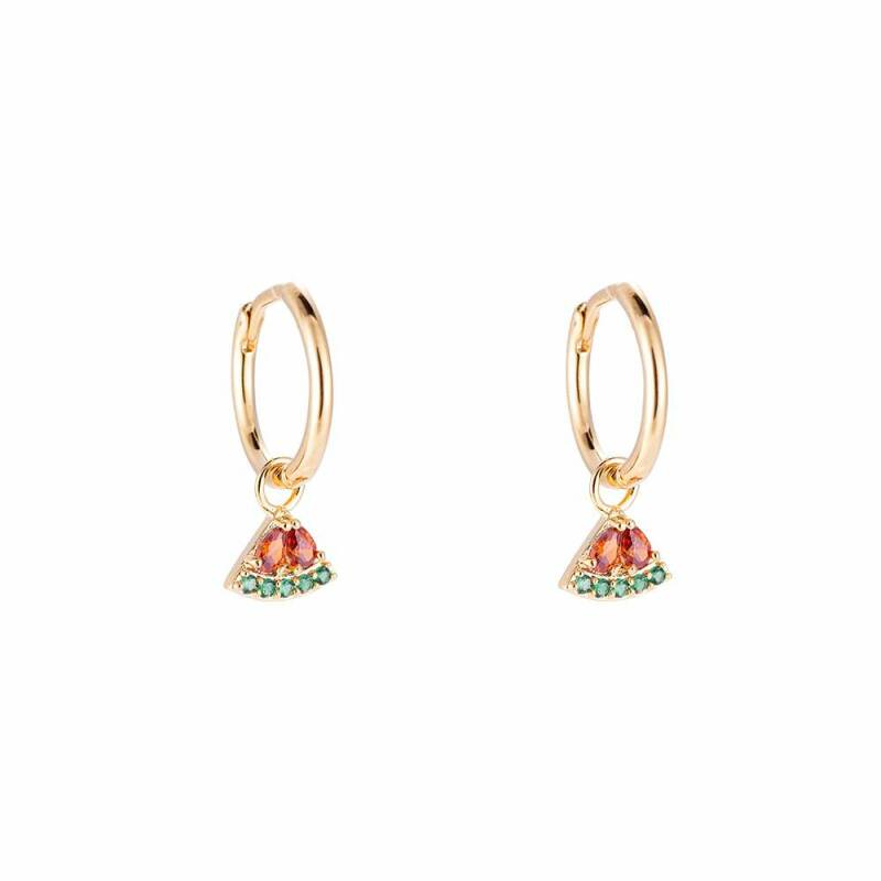 Watermelon Hoop Plated Earrings
