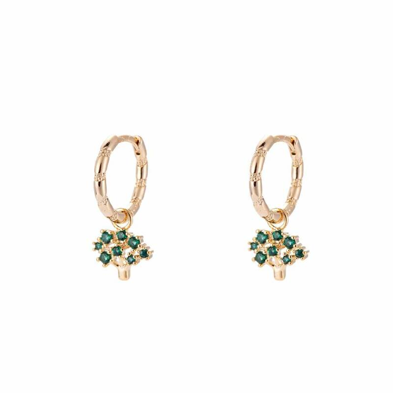 Green Tree Hoop Earrings