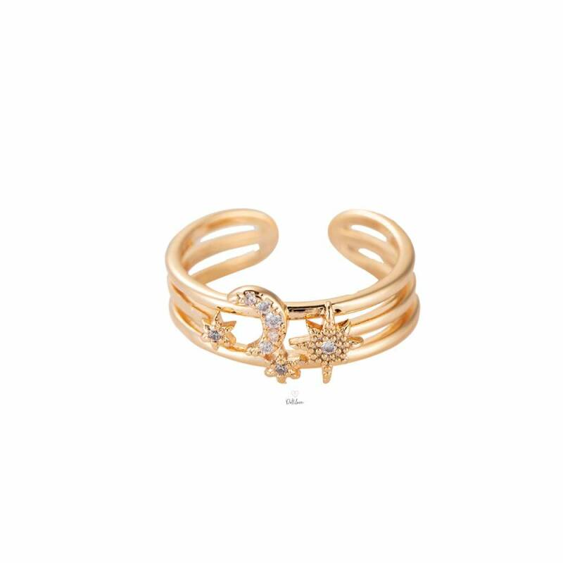 Moon & Star plated ring