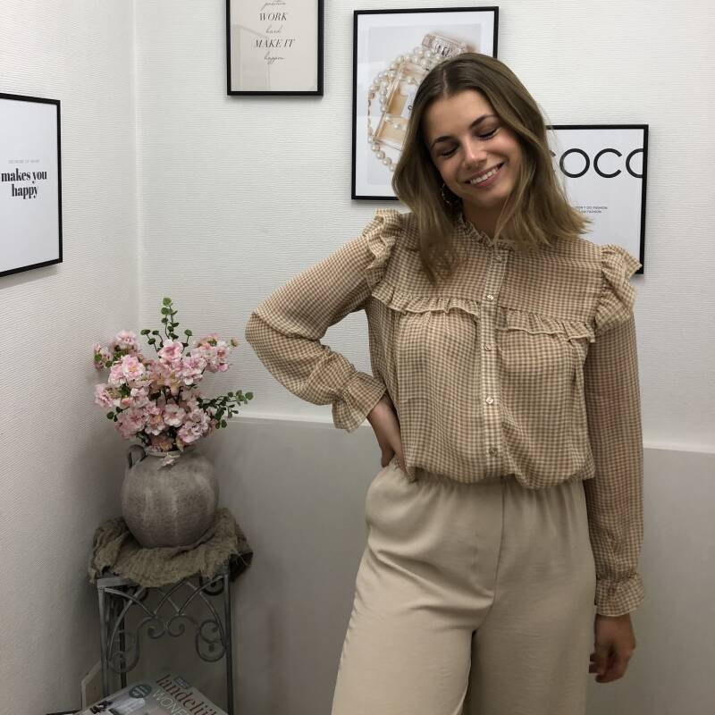 Checked Blouse - Beige