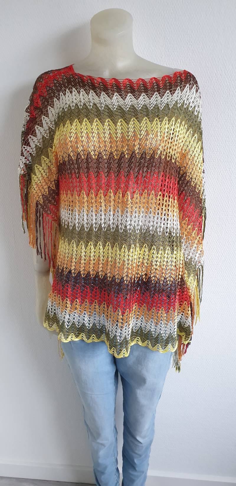 Multi colour gehaakt franje tuniek- maat xl