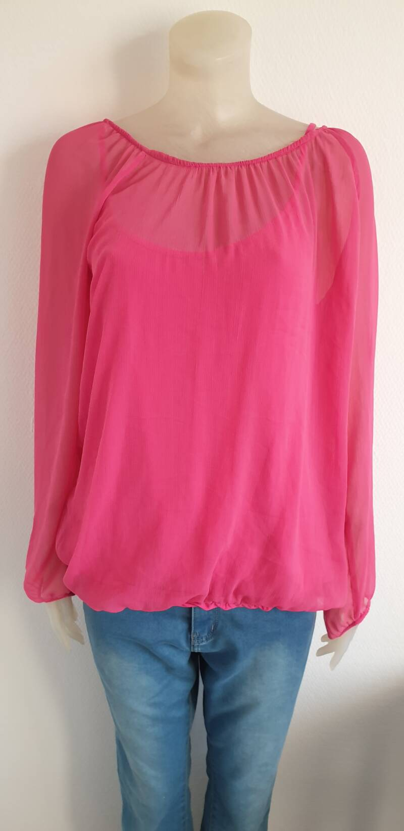 Fuchsia rose dubbellaags top -maat 44