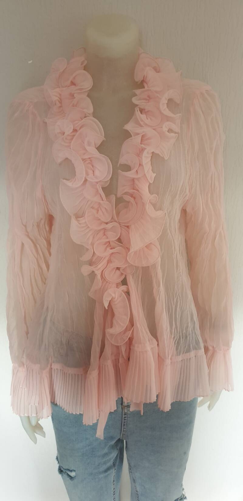 Zacht rose roezelblouse-didi - maat 48/50