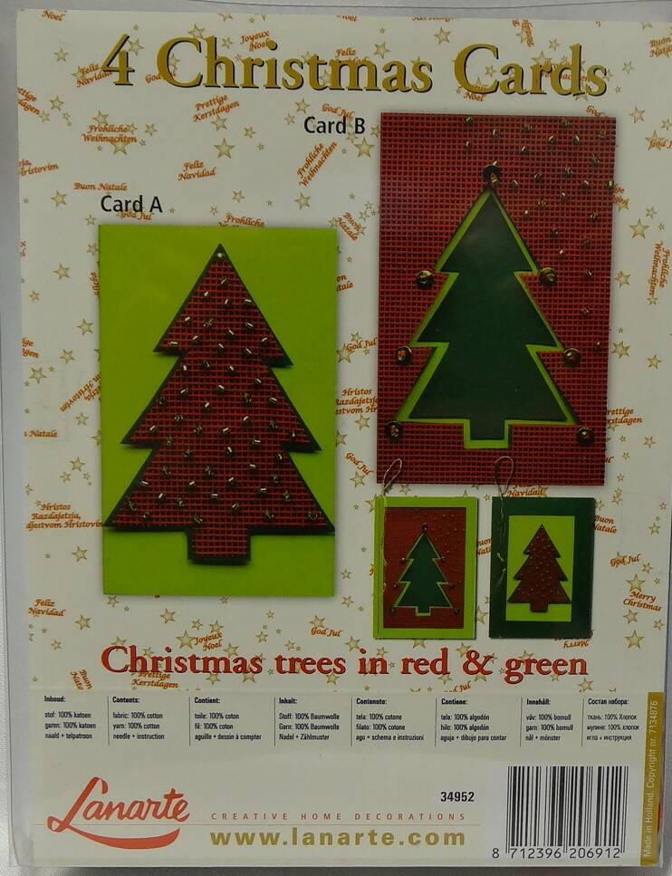 4 Chrismas cards Trees in red & green