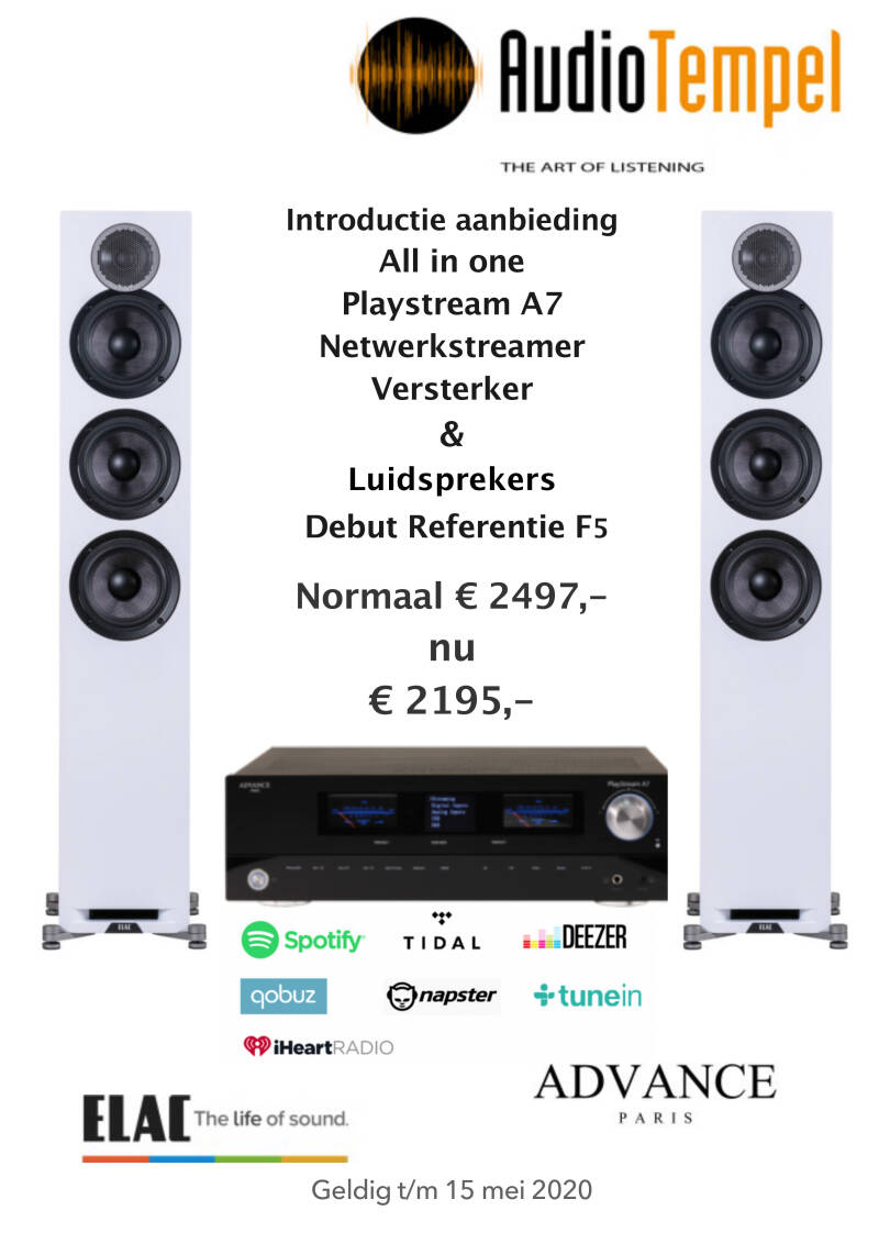 Advance Paris Playstream A7 Netwerk Receiver & Elac Debut Reference F5