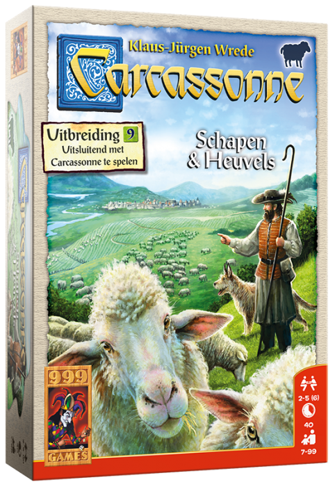 Carcassonne - Uitbr.9: Schapen en heuvels 999-CAR31N (999 Games) 7+