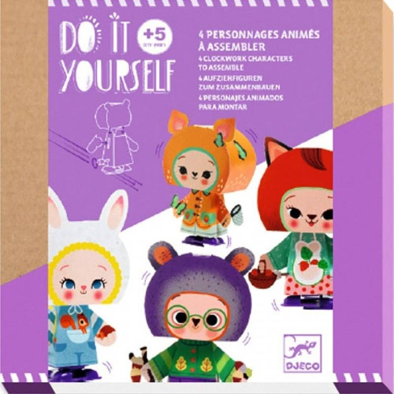 Do It Yourself - Opwindbare figuurtjes: Bosdieren DJ07930 (Djeco) 5+