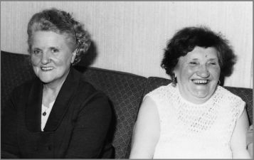 Elizabeth Vogelzang-Ringeling # 4 and Agatha Vogelzang- Deden # 13 at birthday party- 1970.
