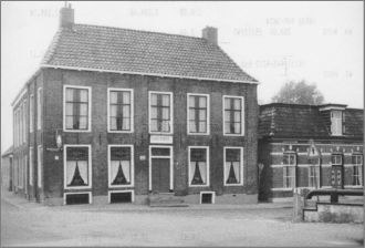 Café Pijper at 1 Rechthuisstraat in Rinsumageest. Building was owned by Johannes and Catriene Pijper # 3594. It originally was the local court house.-Picture taken in 1970: From Rijksargyf- Leeuwarden- Stienstra collection # 17161.