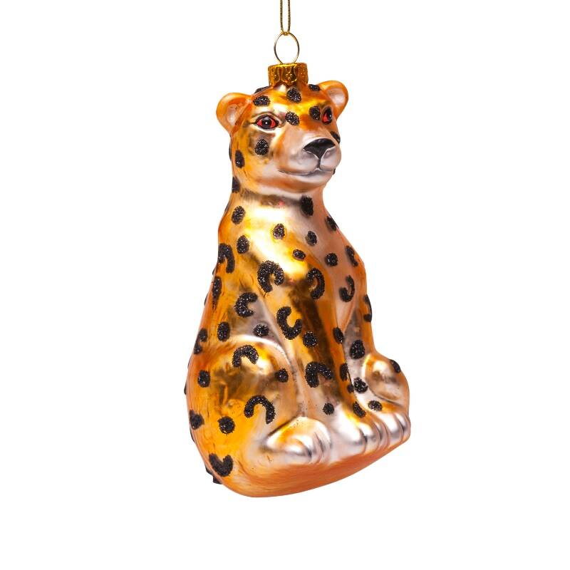 Ornament glass gold panther H13cm*