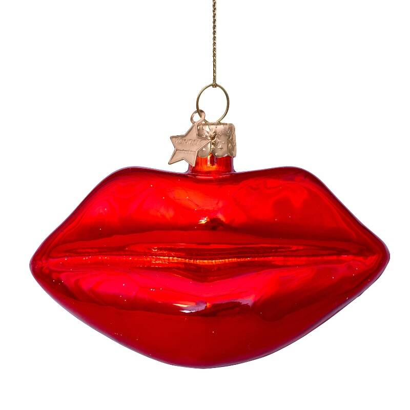 Ornament glass red lips H6cm
