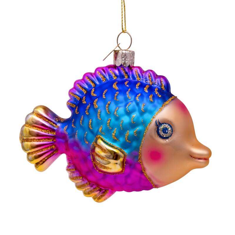 Vondels Ornament glass multi color fish H7.5 cm