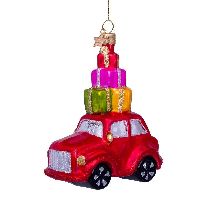 Ornament glass red car w/presents on top H11.5cm*