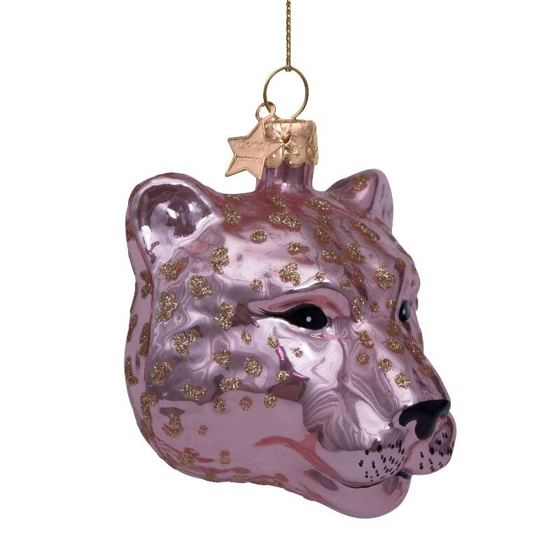 Ornament glass soft pink opal panther head H7cm