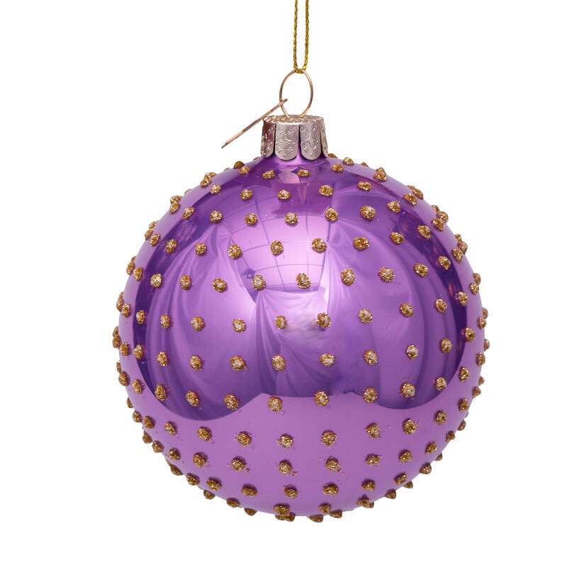Vondels Bauble glass lilac opal w/small dots allover H8cm