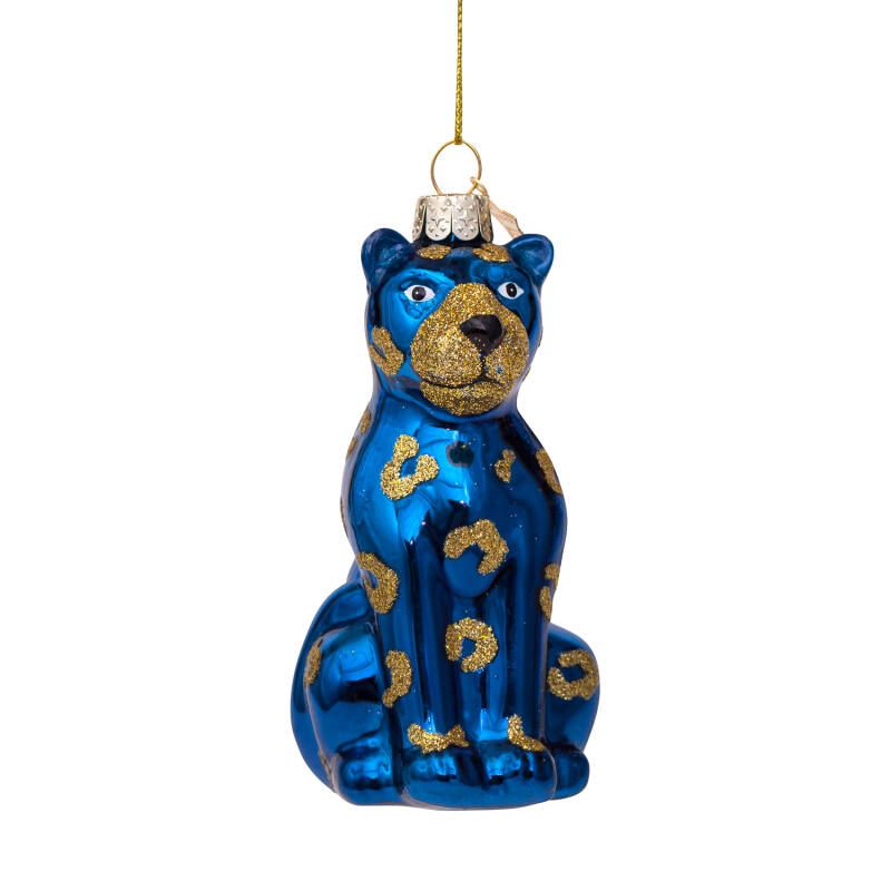 Vondels Ornament glass dark blue opal panther H13cm