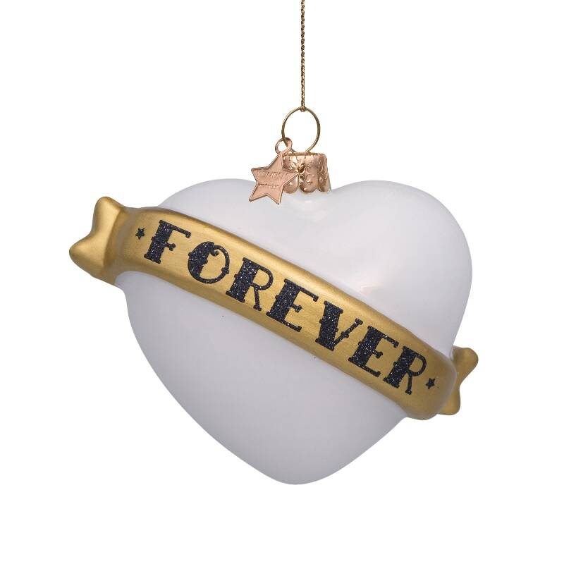 Ornament glass white opal heart w/text forever H8.5cm