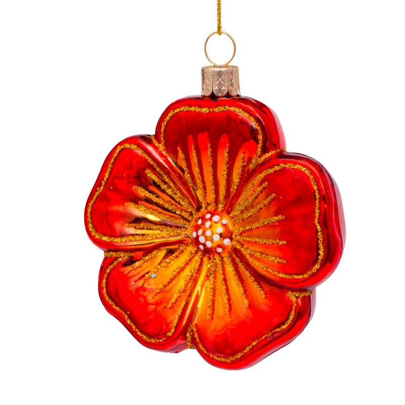 Ornament glass red flower 1 H8cm