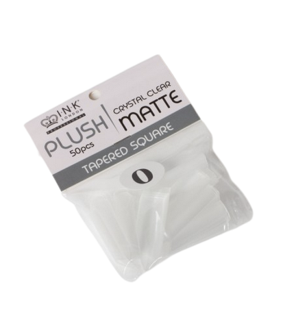 Plush Tips Refill Tapered Square Crystal Clear Matte 0