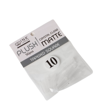 Plush Tips Refill Tapered Square Crystal Clear Matte 10