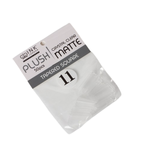 Plush Tips Refill Tapered Square Crystal Clear Matte 11