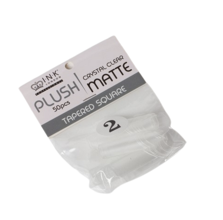 Plush Tips Refill Tapered Square Crystal Clear Matte 2