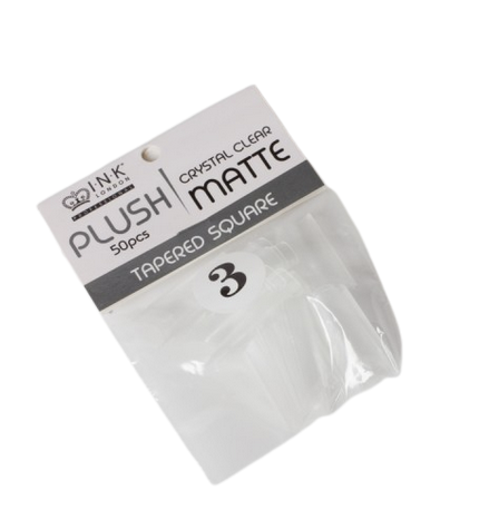 Plush Tips Refill Tapered Square Crystal Clear Matte 3