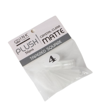 Plush Tips Refill Tapered Square Crystal Clear Matte 4