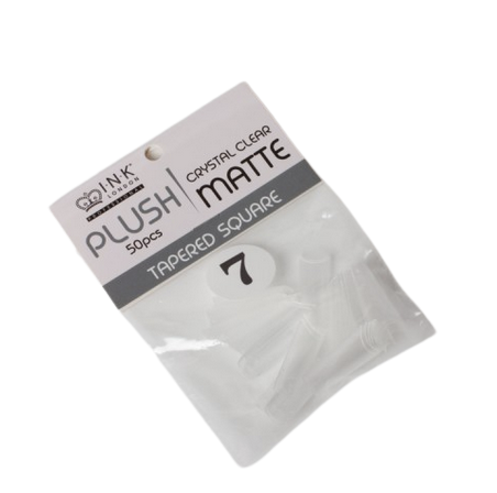 Plush Tips Refill Tapered Square Crystal Clear Matte 7
