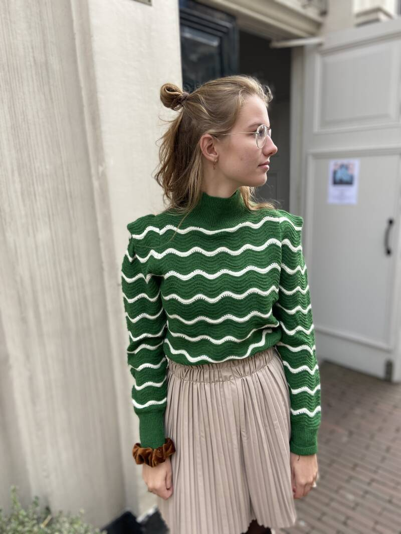 Green and crème knit