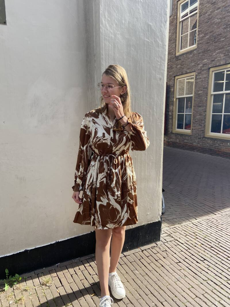 Brown twisted dress