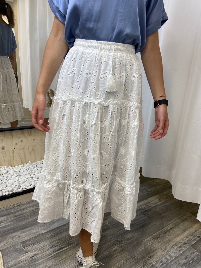 Broderie rok maxi - wit