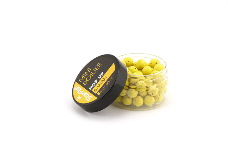 10 st. Starfish Mini Pop Up Boilies 8mm - banana 60 ml.