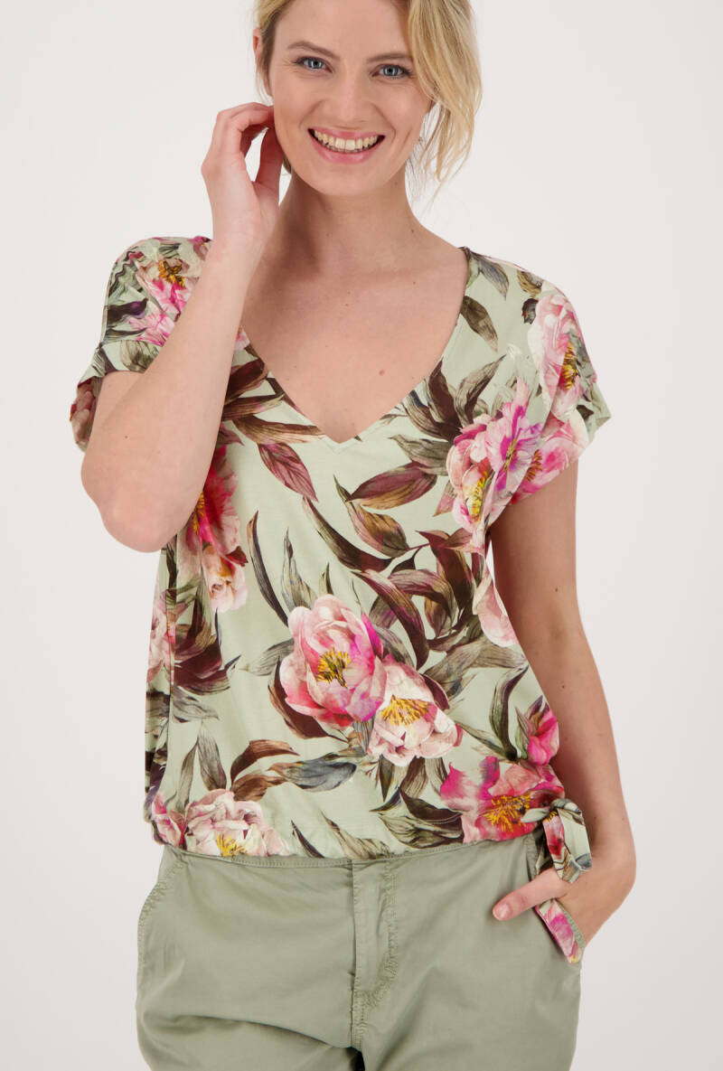 Monari floral shirt 406248 dusty green  - 004676