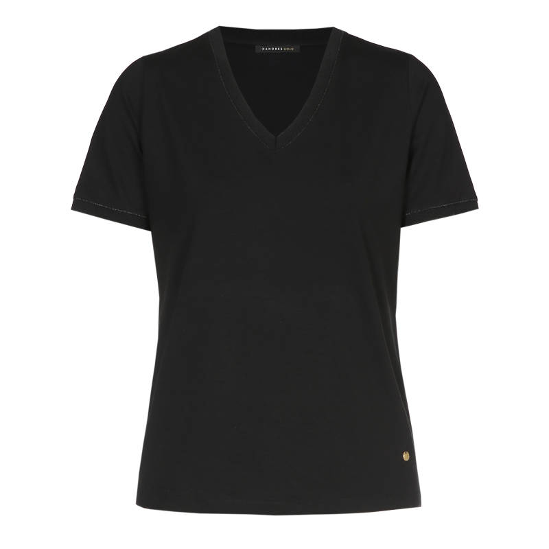 Xandres Gold T.Shirt X-FLOY/ESSENTIALS zwart - 003986