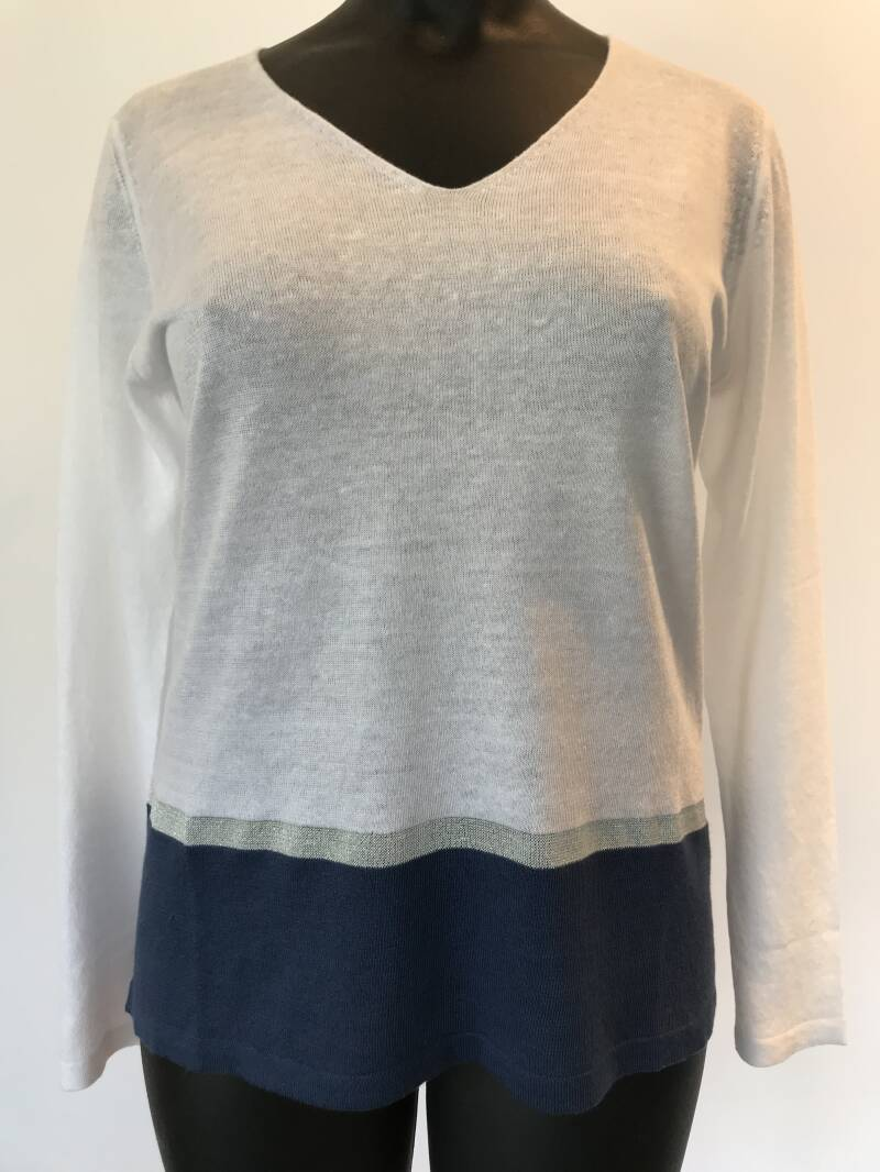 Le tricot Perugia linnen pull 46169 wit - 003810